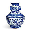 A rare <b>blue</b> <b>and</b> <b>white</b> 'floral' vase, hu, Seal mark <b>and</b> period of Qianlong (1736-1795)