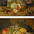 Alexander coosemans (antwerp 1627 - 1689), still life with lemons, oysters and cherries; still life with peaches and figs