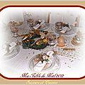 Ma <b>table</b> de Noël ... Crème, strass et dorée