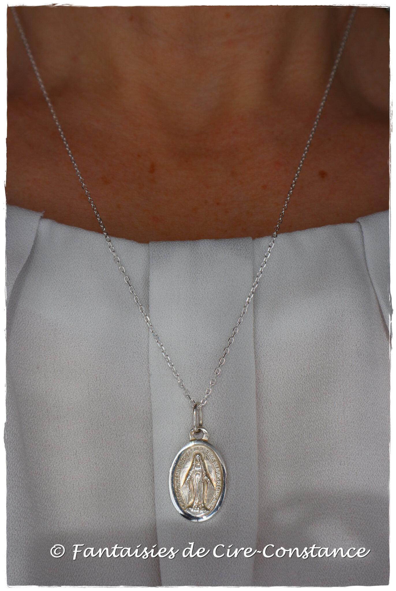 Collier médaille miraculeuse 20 mm argent massif
