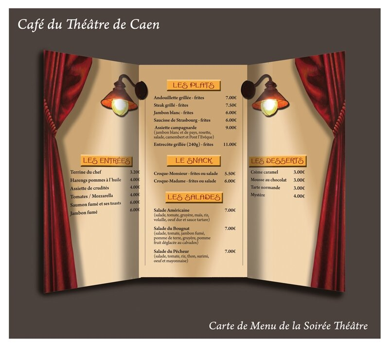 caf du th tre carte de menu soir e th tre photo de travaux graphisme l 39 encri re. Black Bedroom Furniture Sets. Home Design Ideas
