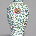 A rare large doucai ''floral' <b>meiping</b> <b>and</b> <b>cover</b>, Qing dynasty, 18th century