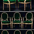 Suite de huit fauteuils en cabriolet à dossier médaillon par claude i séné, époque louis xvi, vers 1775.