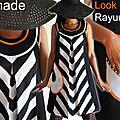 Robe chasuble Trapèze Style Sixties géométrique noir/ blanche