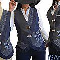 <b>Gilet</b> tailleur Femme <b>sans</b> <b>manches</b> Patchwork jean Brut et lainage Prince de galles Gris Noir.