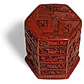 A carved cinnabar lacquer tiered box and cover, Ming dynasty, <b>16th</b> <b>century</b>