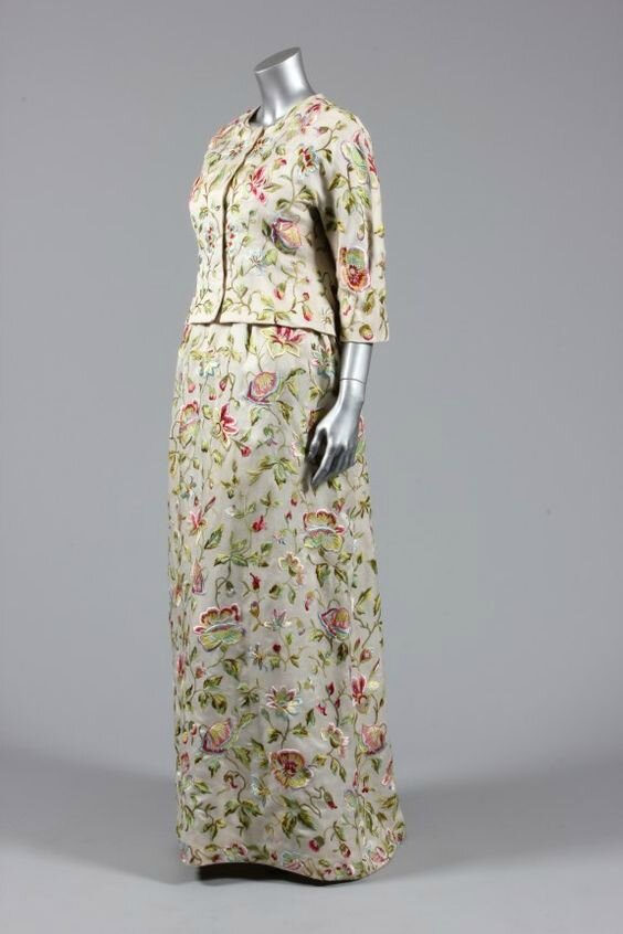 Balenciaga couture embroidered gazar evening gown and jacket, Spring-Summer, 1960