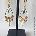 BO Géraldine doré et corail (turquoise clair et blanc) - 27 € sur clip ou pour oreilles percées