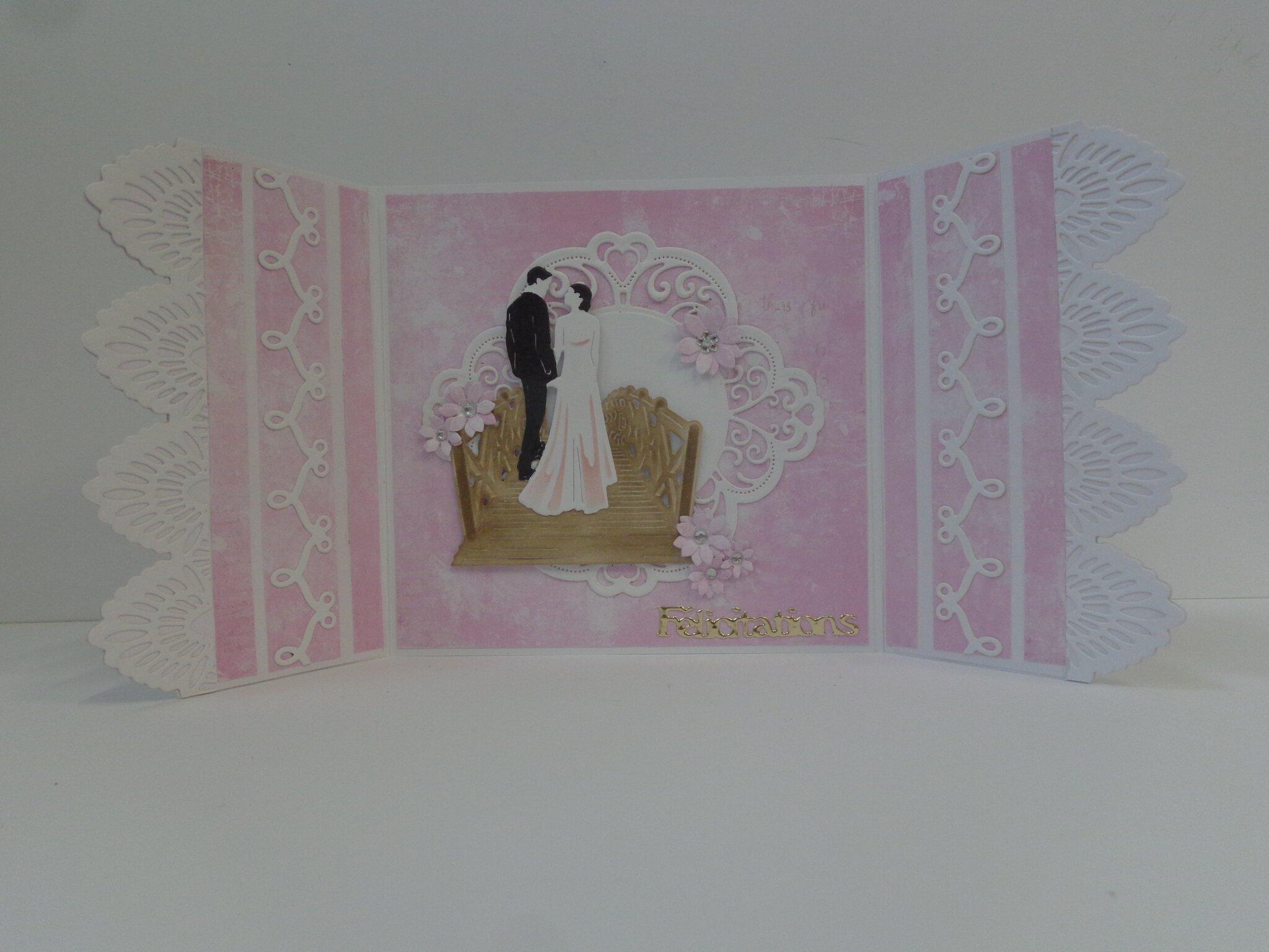 "Carte mariage ""rose et dentelle"""