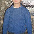 Pull irlandais bleu