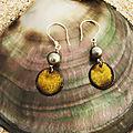 Boucles d'oreilles émail et perles de tahiti