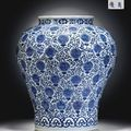 A rare large blue and white 'shou'-character jar. wanli six-character mark in underglaze blue within a double circle