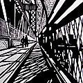 New-York - Pont de Manhattan - Linogravure