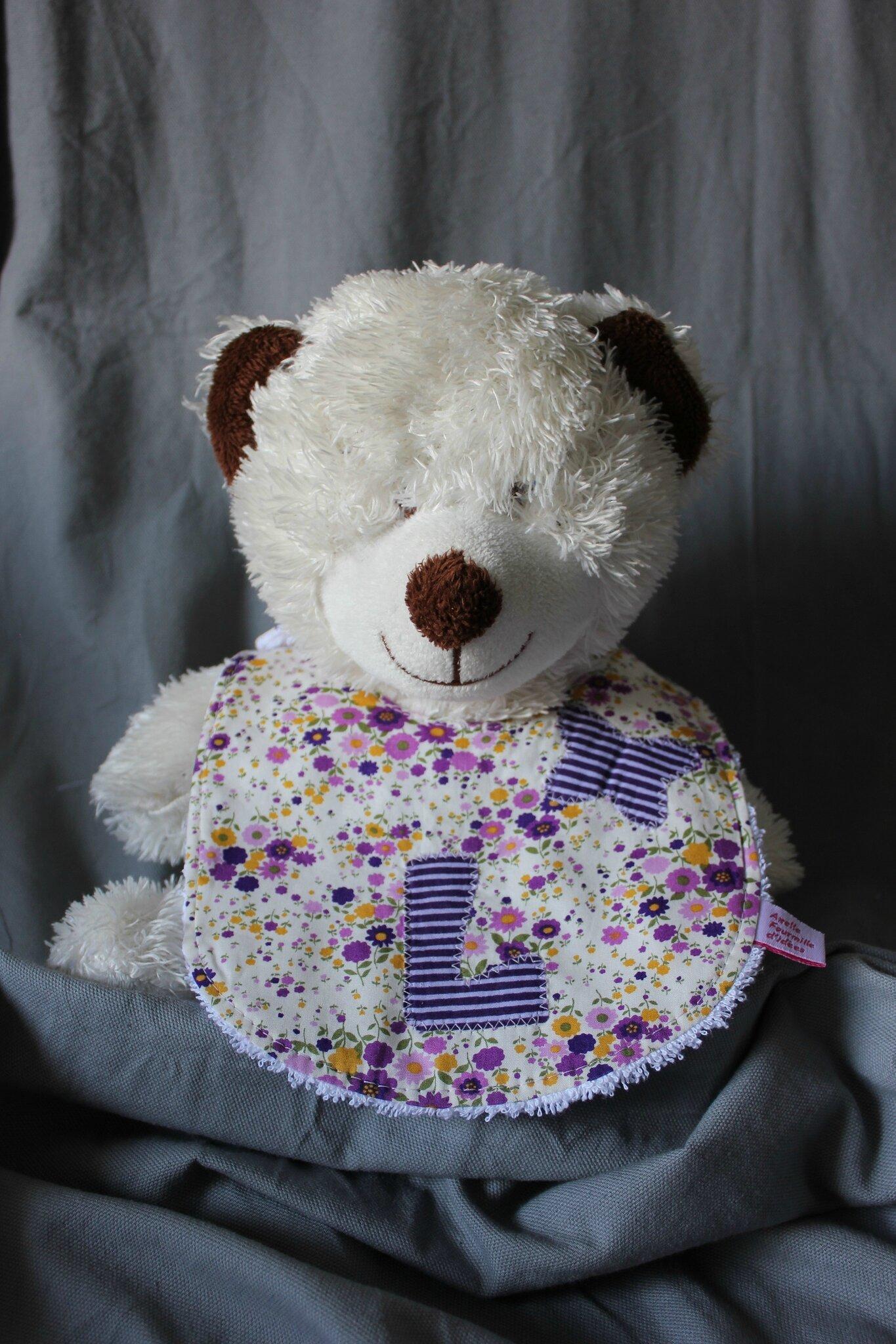 Bavoir L violet ours