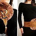 Cravate/ foulard & Ceinture Reversible Or & Velours