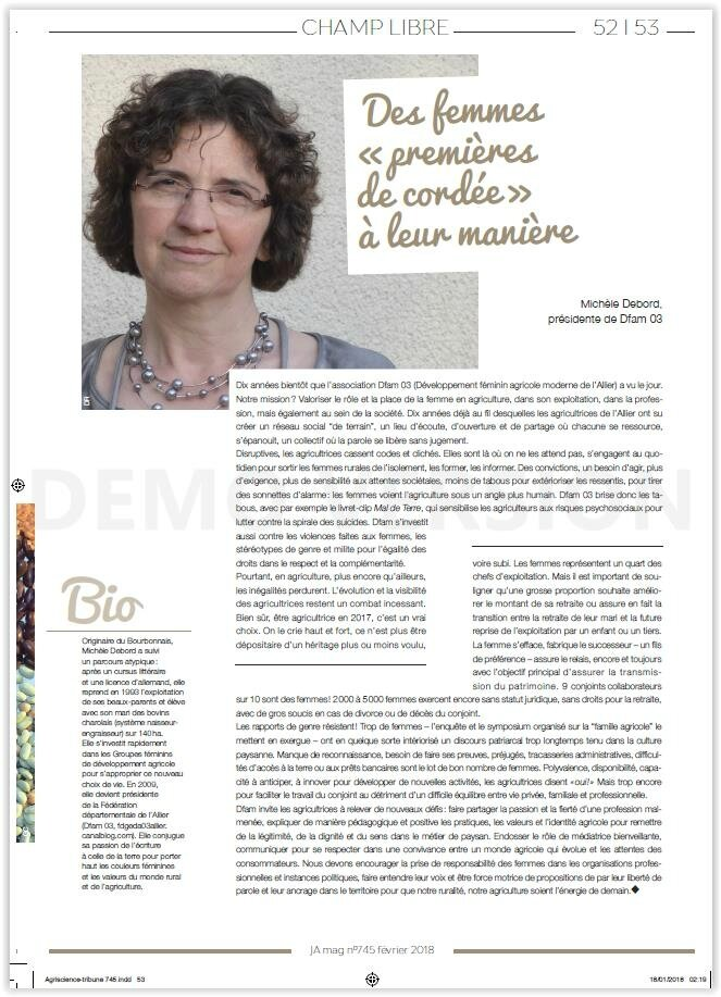 """Tribune Dfam 03 Le JA Mag donne le """"Champ libre"""" au groupe d'agricultrices de l'Allier Merci !"""
