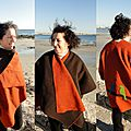 Montage Cape-poncho marron-orange oiseaux