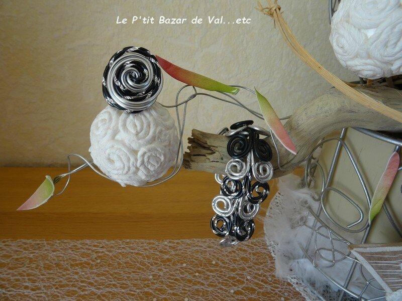 Parure : Bracelet et bague en fil Aluminium
