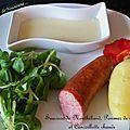 Saucisse de montbéliard, pommes de terre et cancoillotte chaude