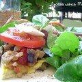 Ratatouille nature et son omelette, sur pousses d'épinard