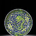 A fine blue and yellow 'dragon' dish, seal mark and period of <b>Qianlong</b> (1736-1795)