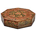 A Large Painted and incised brown lacquer octagonal <b>box</b> and cover, Late 18th century