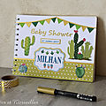 Livre d'or pour une Baby <b>Shower</b> sur le thème CACTUS