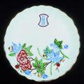 Three Wucai flower form dish, four-character sealmark fu tian xia taiping, Chongzhen, 1628-1644