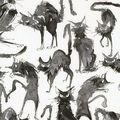 Tissu Horror Cats pour robe pin Up, jupe circle, chemise, bustier...