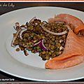 Lentilles tièdes au saumon fumé