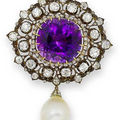 19th century amethyst necklace, a pair of amethyst and diamond earrings & an amethyst, diamond and <b>cultured</b> <b>pearl</b> brooch