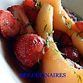 Soupe de fraises et melon, floc de gascogne et citron vert
