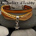 Petit sondage du matin : aimez vous ce <b>bracelet</b> <b>multimatières</b> cuir, daim à strass, coton ciré, organza et sa breloque étoile ?