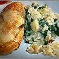 Filets de poulet au parmesan et romarin et son risotto au céleri et epinards