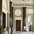 The entrance hall at harewood house, 1759, designed by robert adam