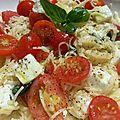 Vermicelles aux tomates cerises, chèvre et féta