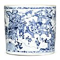 A superb blue and white brushpot, Transitional period