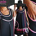 Robe trapèze Chasuble Noire Rose Bordeaux à dentelles & ruban Velours/ satin de style rétro Chic