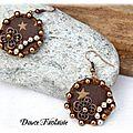 Boucles d'oreilles textile marron bronze étoile