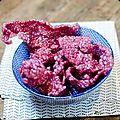 Kroepoek de tapioca à la betterave