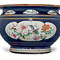 A very large blue-ground famille rose fish bowl, qianlong period, mid 18th century