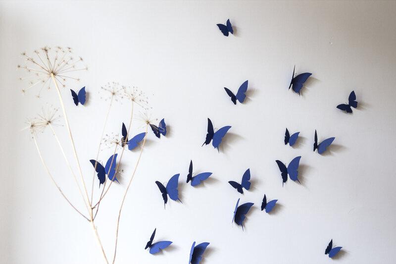Envolée papillons papier b deco murale bleu TRENDY LITTLE 2