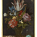 <b>Balthasar</b> <b>van</b> <b>der</b> <b>Ast</b> (Middelburg, vers 1593 - Delft, 1657), Bouquet de fleurs dans un vase en verre
