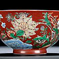 An Imperial Coral-ground Wucai and Yangcai 'Floral' Bowl, Mark and Period of Kangxi, 1662–1722