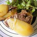 pommes de terre farcies au <b>confit</b> de <b>canard</b>