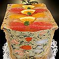 Terrine de poissons, Saint-Jacques et <b>gelée</b> d'agrumes en croûte