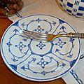 Assiettes á desseet décor Copenhague