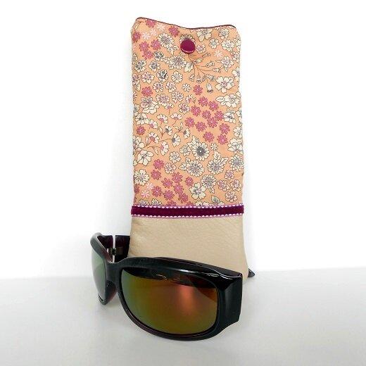 Etui lunettes frou frou fleurs saumon1