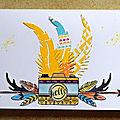 Appareil photo aux plumes - challenge oh les belles cartes !