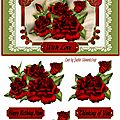Carte 3d roses rouges